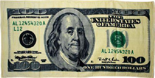 $100 New Issue of One Hundred Dollar Bill Print 100/% Pure Cotton Beach Towel 30 X 60