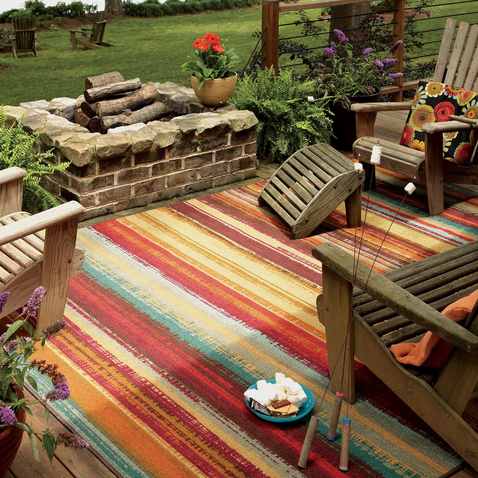 Mohawk Home Avenue Stripe Indoor/Outdoor Nylon Rug, Multi Colored    Walmart.com