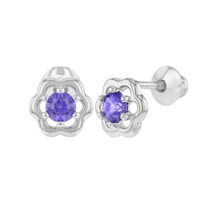 925 Sterling Silver CZ Flower Earrings Screw Back for Babies Toddlers Kids](Kid Earrings)