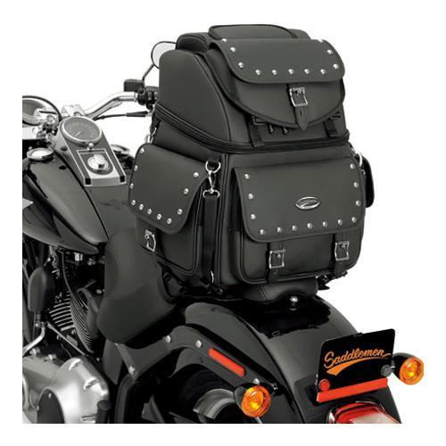 Saddlemen BR3400EX/S Combination Backrest/Seat/Sissy Bar Bag With Studs