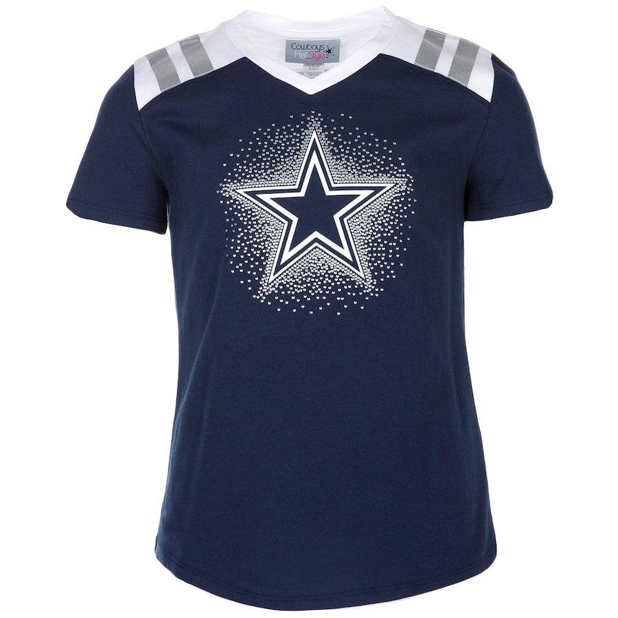 Dallas Cowboys Girls Youth Navy Decker V-Neck T-Shirt