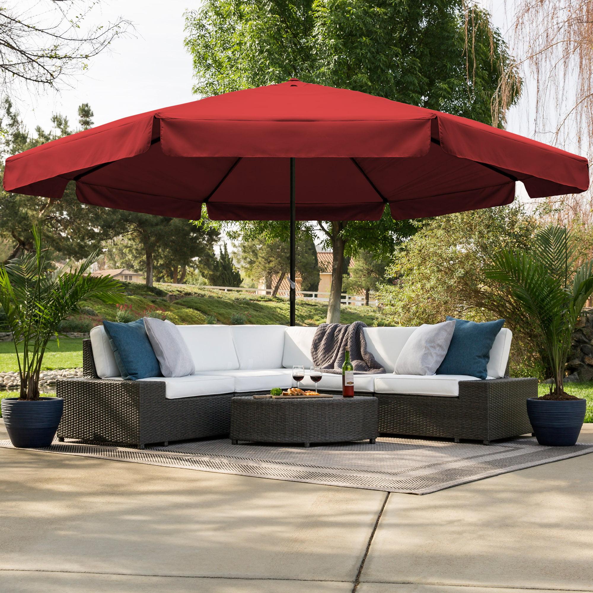 Best Choice Products 16ft Outdoor Patio Drape Canopy Market Umbrella w/ Cross Base, Crank, Air Vent - Burgundy