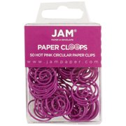 JAM Round Paper Clips, Fuchsia Pink Paperclips, 50/Pack