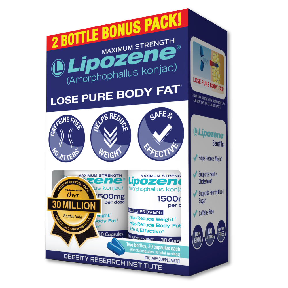 Lipozene (Amorphophallus Konjac) Weight Loss Pills Maximum Strength Bonus Pack, Ctules, 60 Ct