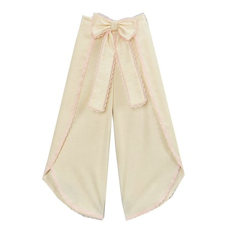 Little Girls Ivory Pink Scalloped Trim Bow Accent Wide Leg Pants 12M-6 ()