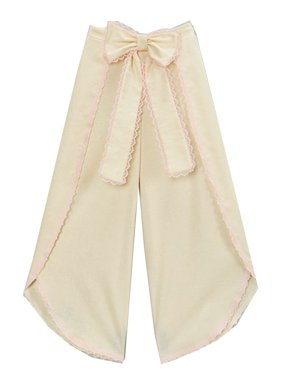 Little Girls Ivory Pink Scalloped Trim Bow Accent Wide Leg Pants 12M-6