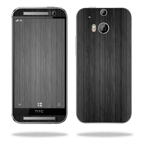 Mightyskins Protective Skin Decal Cover for HTC One M8 wrap sticker skins Black Wood