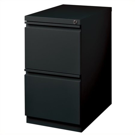 20-inch Deep Mobile Pedestal 2-Drawer File/File Full Width Pull, Black Full Pull Utility Drawer