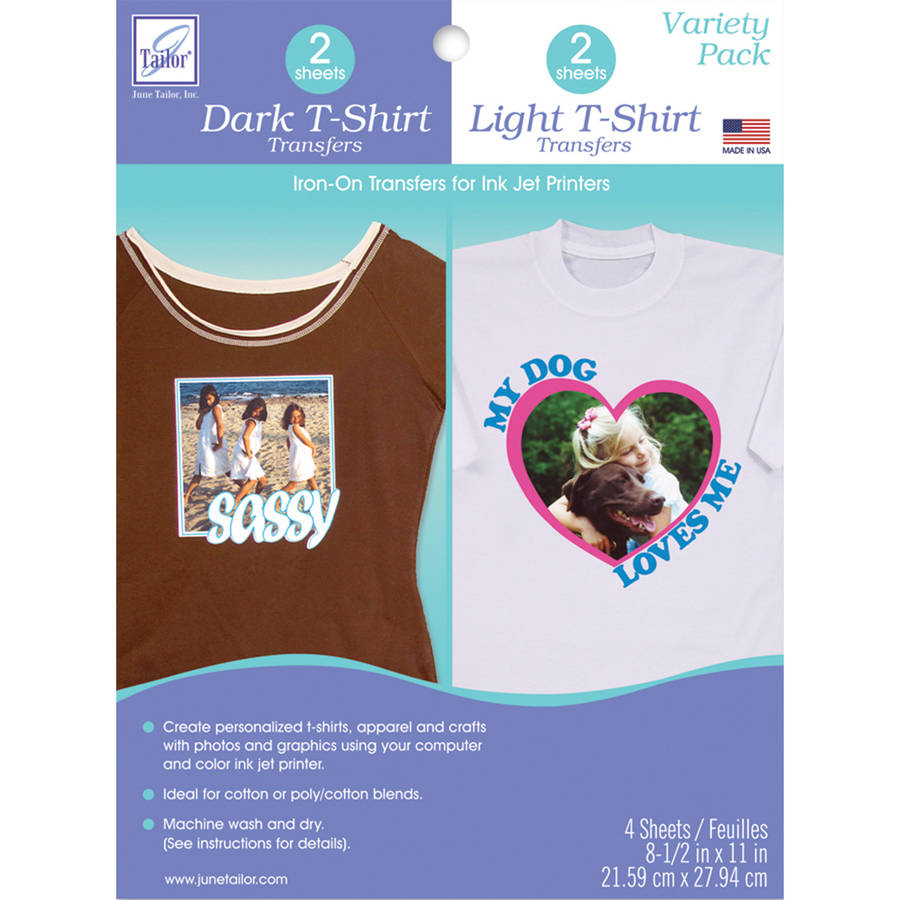 "T-Shirt Iron-On Ink Jet Transfer Sheets, 8.5"" x 11"", 4pk"