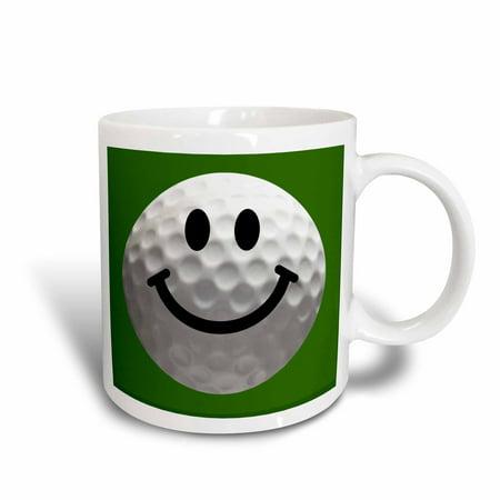 3dRose Smiley face golf ball - Happy white golfball - Golfer gift - Smilie on dark green background, Ceramic Mug, 11-ounce