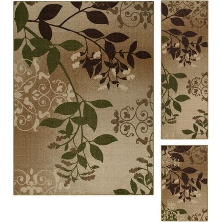 Mainstays Belvedere Tan Leaves 3-Piece Loop Pile Print Area Rug