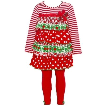 Bonnie Jean Christmas Outfits.Bonnie Jean Baby Girls Red White Stripe Dotted Tiered Tunic Legging Set 24m