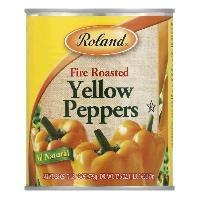 Roland Fire Roasted Yellow Peppers, 28 Oz (Pack of 12)