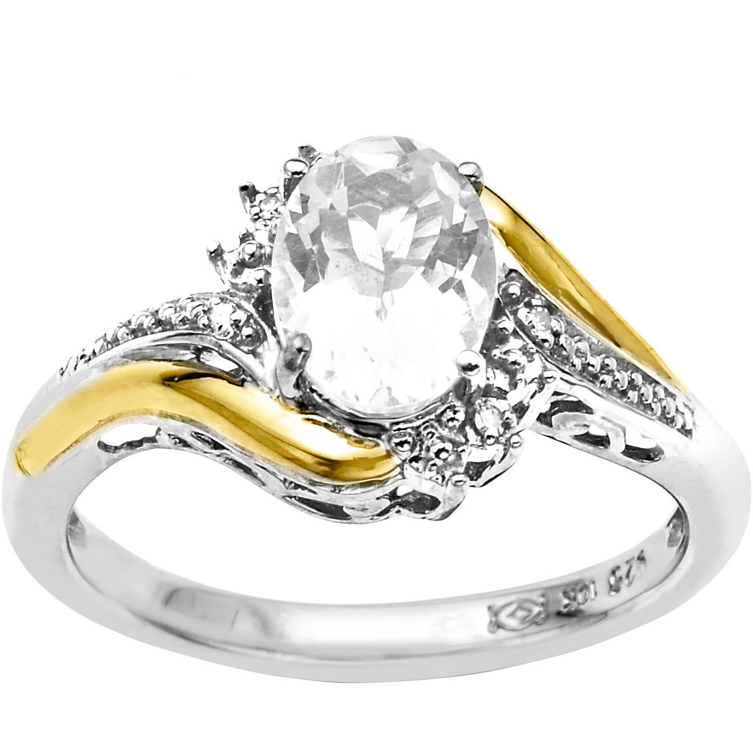 Duet Sterling Silver with 10kt Yellow Gold Oval White Topaz and Diamond Accent Ring