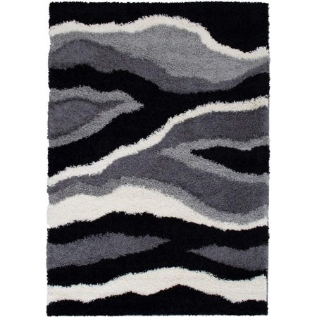 Masada Rugs Multi color Modern Contemporary Collection Soft Shag Area Rug (8 Feet X 10 Feet, Waves