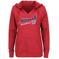 Women's Majestic Red Washington Nationals Fresh & Exciting V-Neck Pullover Hoodie