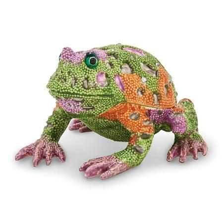 Bejeweled Frog - Bejeweled Pewter Psychedelic Frog Trinket Box