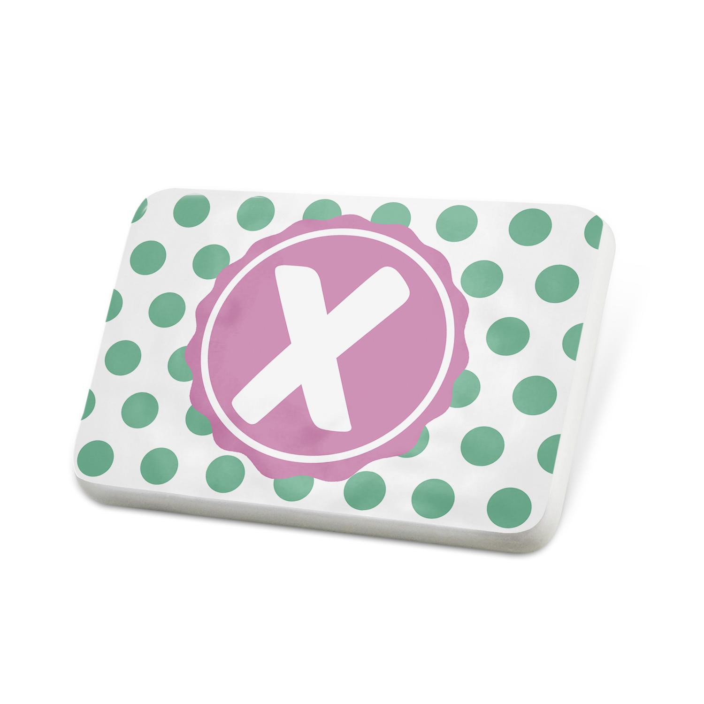 Porcelein Pin Monogram X White Green Polka Dots Lapel Badge – NEONBLOND