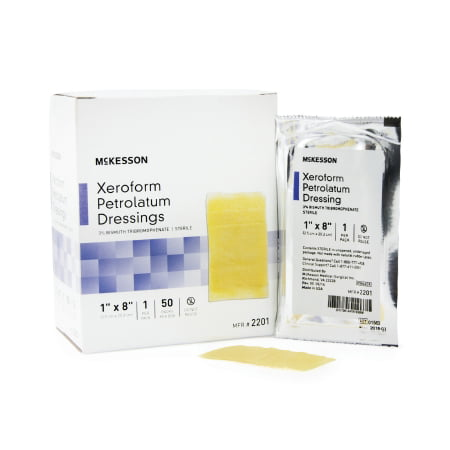 McKesson Xeroform Petrolatum Dressing  1 X 8 Inch Gauze Bismuth Tribromophenate Sterile, 10 Count ()