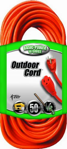 Coleman Cable 16 3 Vinyl Outdoor Extension Cord, Orange, 50-Feet by Coleman Cable