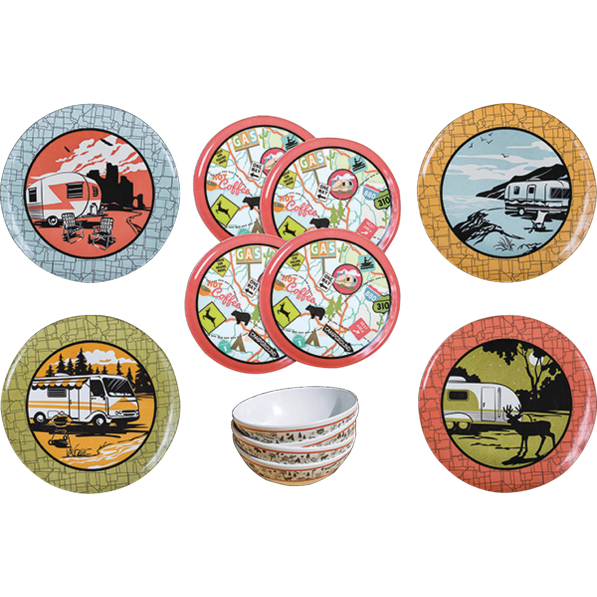 Camp Casual CC-001 RV Camping 12-Piece Outdoor Dinnerware Dish Set by Camp Casual