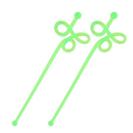 Bar Plastic Tea Juice Wine Stirring Rod Swirl Swizzle Sticks Stirrers Green 2pcs](Sizzle Sticks)