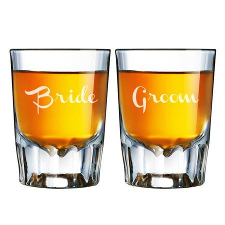 Bride and Groom Engraved Barcraft Fluted Shot Glass Set (Bride And Groom Shot Glasses)