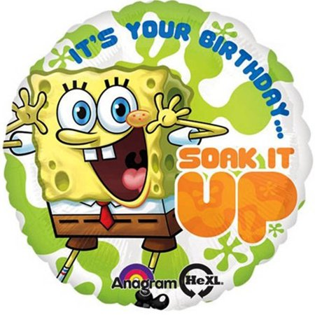 Spongebob It's Your Birthday Soak it up Foil / Mylar Balloon 18