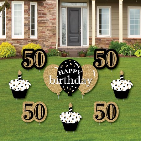 Adult 50th Birthday - Gold - Yard Sign & Outdoor Lawn Decorations - Birthday Party Yard Signs - Set of 8 - Signs Of Birthday