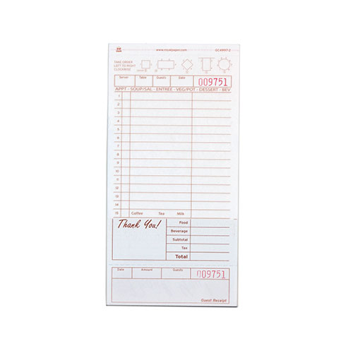 Royal Cave Royal Tan Guest Check Board, Carbonless 2 Part...
