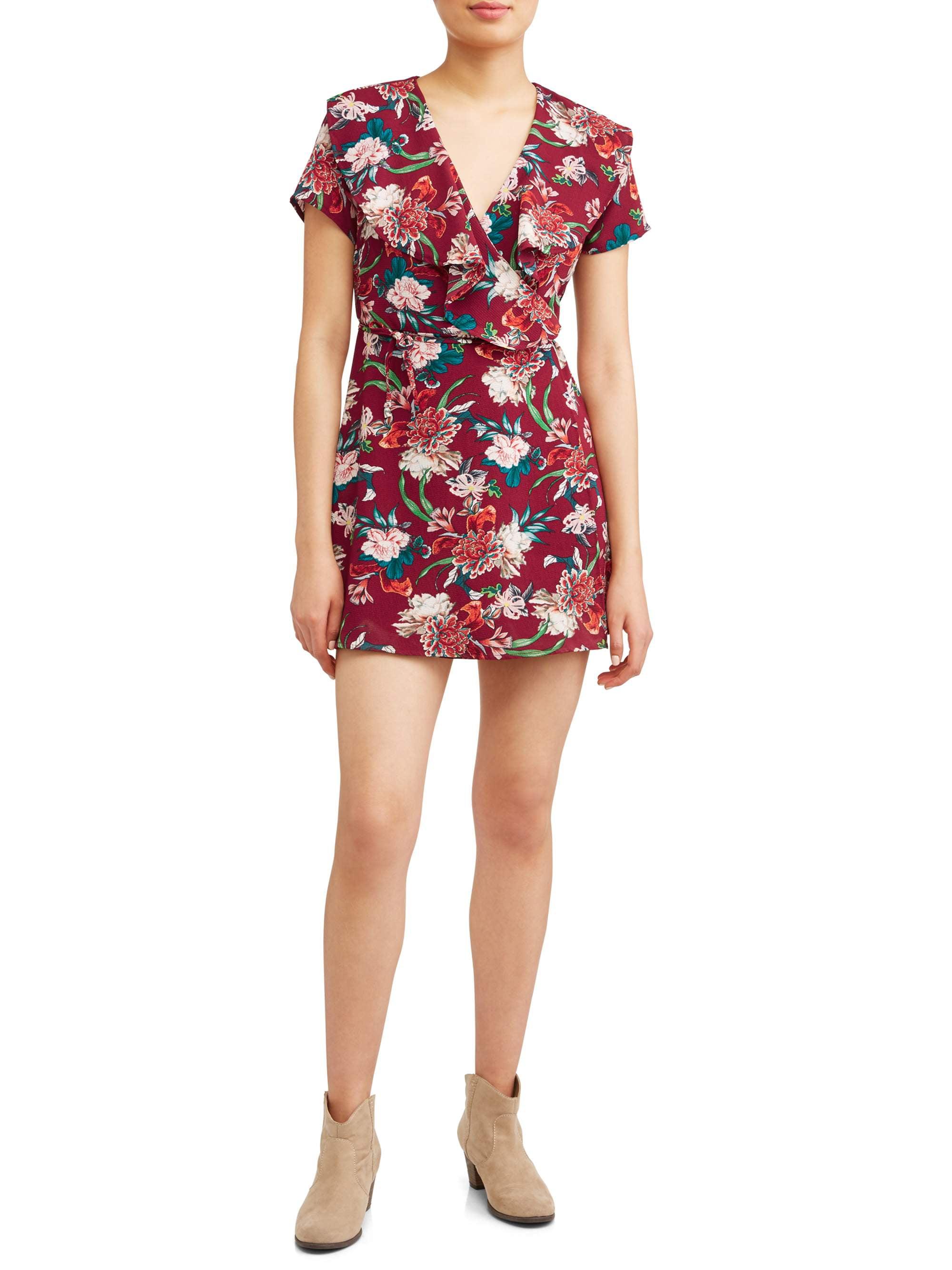 Juniors' Floral Wrap Dress