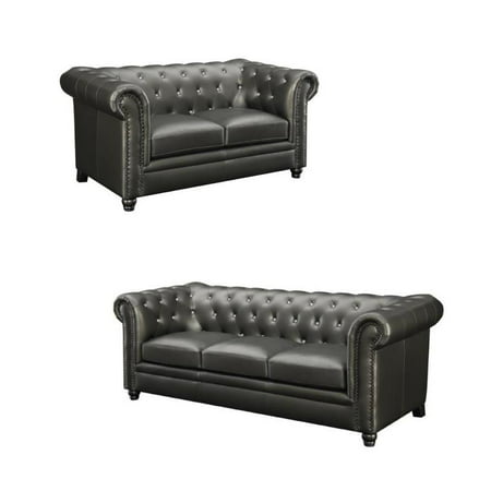 Roy 2 Piece Faux Leather Tufted Loveseat and Sofa Set in Gunmetal