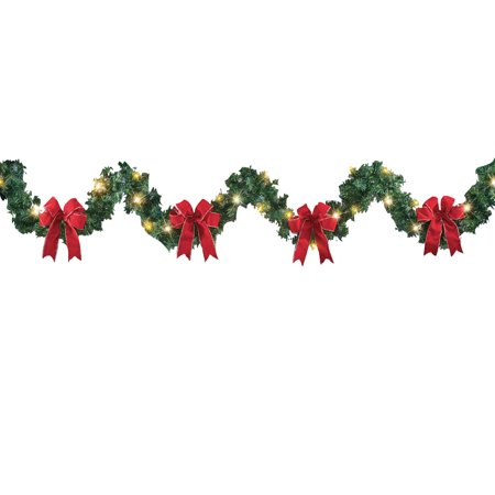 9ft Lighted Winter Garland with Bows and Pine Accents, Indoor or Outdoor Christmas Decor - Garlands Indoor 6 Light