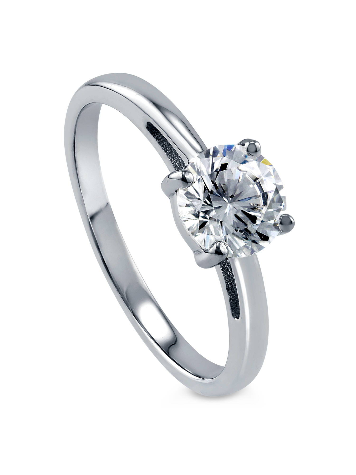 BERRICLE Rhodium Plated Sterling Silver Cubic Zirconia CZ Solitaire Promise Ring Size 10.5