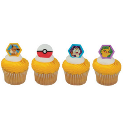 Pokemon With Ball Cupcake Rings Party Of 24 Decoration Kit