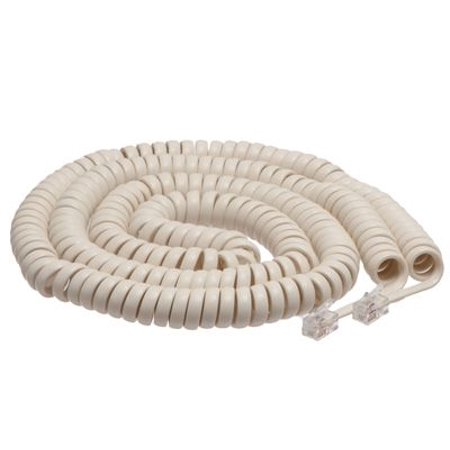 25 Foot Length Coil (ECore Cables Off White Coiled Telephone Handset Cord - 25 Foot Long Length - 1.5 Inch Flat Leader EC15-700-025 FOW)
