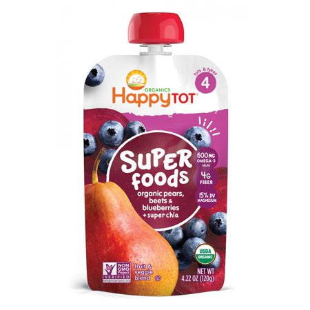 (4 Pack) Happy Tot® Superfoods Organic Pears, Blueberries & Beets + Super Chia Fruit & Veggie Blend 4.22 oz. Pouch