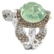 Creative Grass Green Turtle Carved Black Brown Diamond Ring