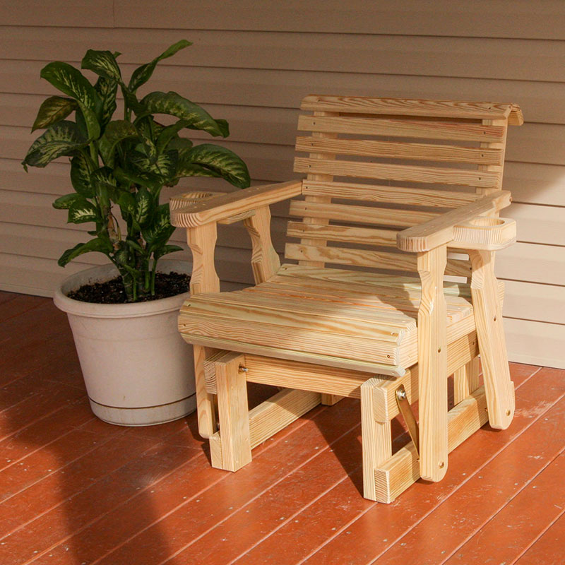 Amish Heavy Duty 600 Lb Roll Back Pressure Treated Glider Chair With Cupholders (Unfinished)