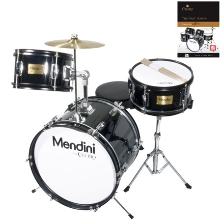 "Mendini by Cecilio 16"" 3-Piece Kids / Junior Drum Set with Adjustable Throne, Cymbal, Pedal, Drumsticks & Lesson Book, Metallic Black, MJDS-3-BK"