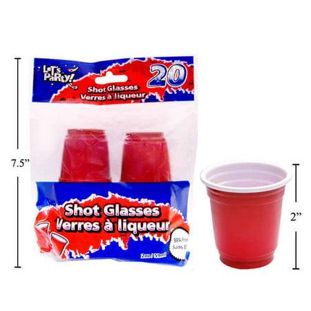 Mini Disposable Shot Glasses 2oz Red 20Pcs - image 1 of 1