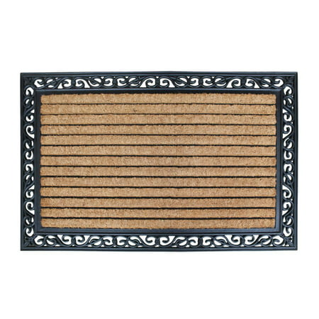 A1HC FIRST IMPRESSION Striped Rubber and Coir 30 x 48 Inch Natural Fade Rubber Backed Standard Double Doormat ()