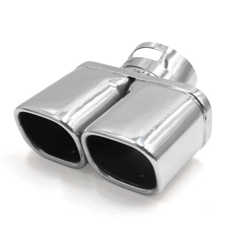 Dual Stainless Pipes - Silver Tone Rectangle Shape Stainless Steel Car Exhaust Pipe Mufflers Dual Tip