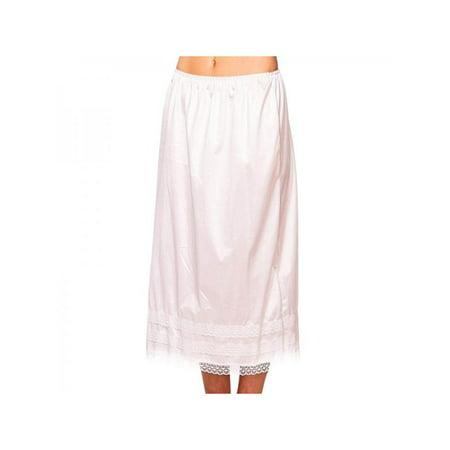 MarinaVida Women's Elastic Waist Slip Ladies Lace Long Skirt Underskirt Petticoat Extender