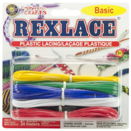 - Pepperell Rexlace Plastic Lacing Cool Combo Variety Pack - 27 Yards / 24 Meters of Beading and Weaving Cord