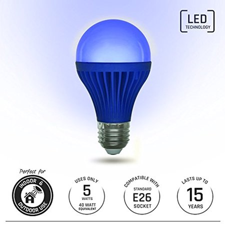 Light Itup Led Light Bulb 5 Watt   Indoor And Outdoor Energy Efficient 40 Watt Equivalent   Home  Patio  Deck  Party  1 Pack  Blue