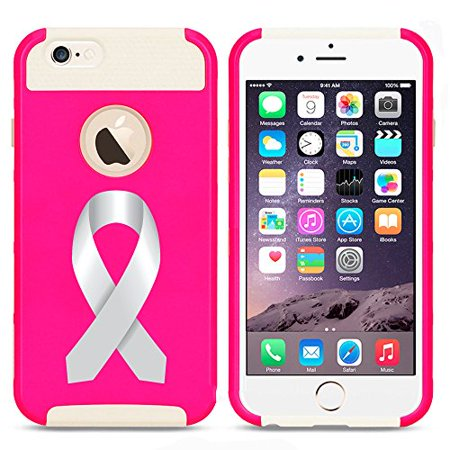 For Apple iPhone 7 Shockproof Impact Hard Soft Case Cover Diabetes Brain Cancer Parkinson's Disease Lung Cancer Color Awareness Ribbon (Hot Pink-White) (Diabetes Awareness Color)