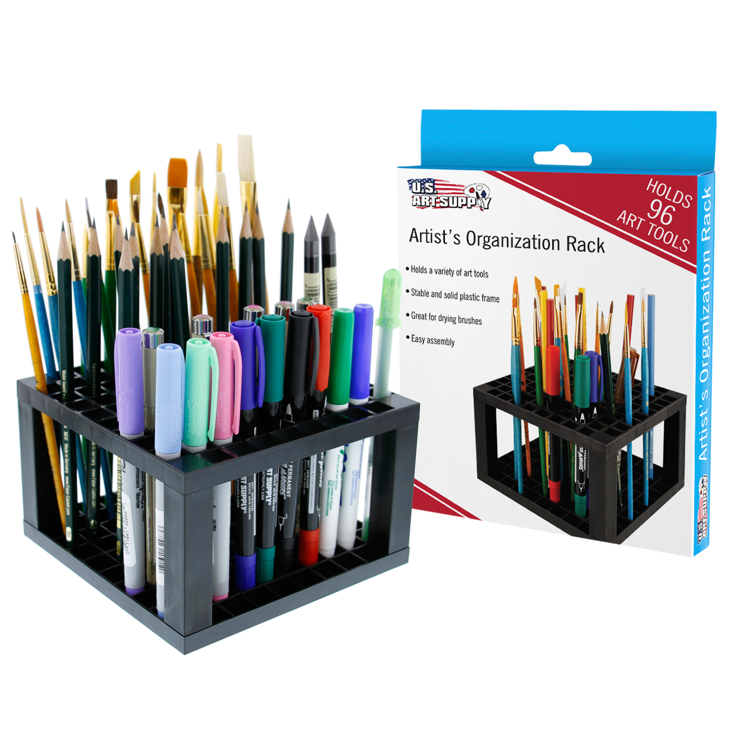 U.S. Art Supply 96 Hole Plastic Pencil & Brush Holder - Desk Stand Organizer Holder for Pens, Paint Brushes, Colored Pen