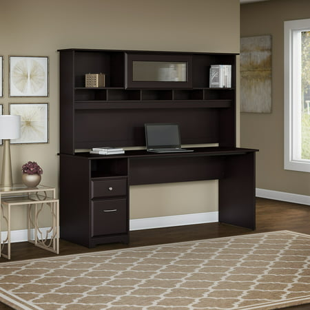 Bush Furniture Cabot 72W Computer Desk with Hutch and Drawers in Espresso Oak