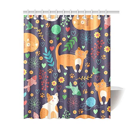 RYLABLUE Seamless Pattern With Cute Cats Bathroom Waterproof Fabric Shower Curtain 60x72 inches - image 1 de 2
